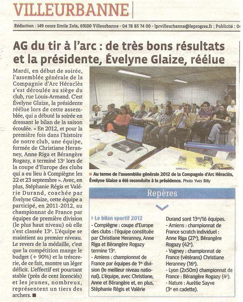14-10-2011 Le Progres - Assemblée Générale