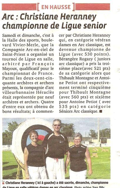 23-02-2012 Le Progres - Christianne championne Ligue